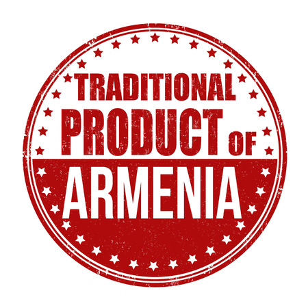 map of armenia: Traditional product of Armenia grunge rubber stamp on white background, vector illustration Illustration