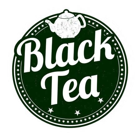 Black tea grunge rubber stamp on white background, vector illustration Illustration