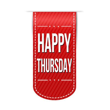 red ribbon week: Happy thursday banner design over a white background, vector illustration Illustration