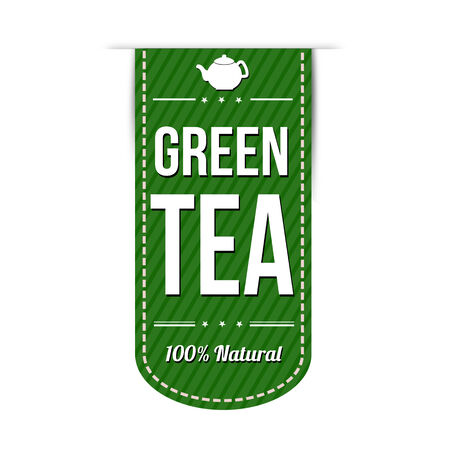 recommendations: Green tea banner design over a white background, vector illustration