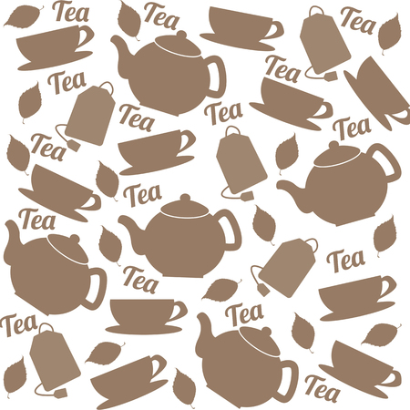 teabag: Tea pattern of cups and teapots  in different colors on white background in square format suitable for wallpaper and fabric, vector illustration Illustration