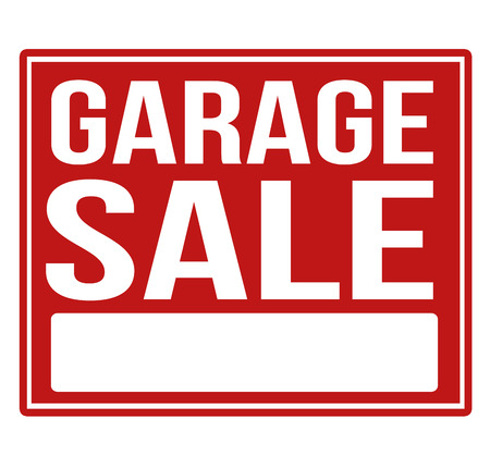 Garage sale red sign with copy space isolated on a white background, vector illustration