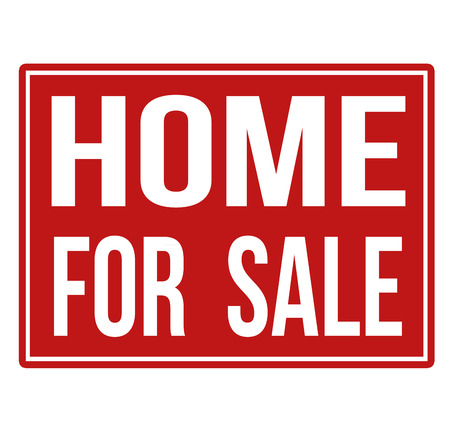 realestate: Home for sale red sign isolated on a white background, vector illustration Illustration