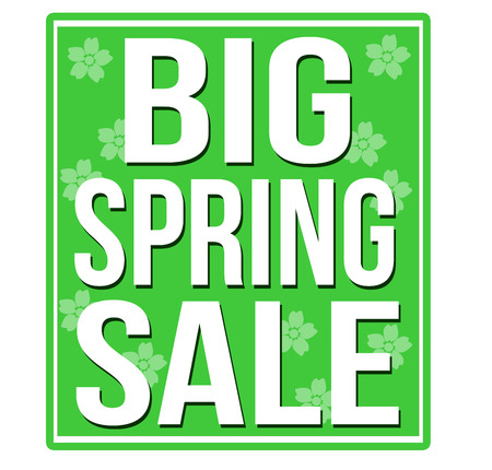Big spring sale green sign isolated on a white background, vector illustration Vector