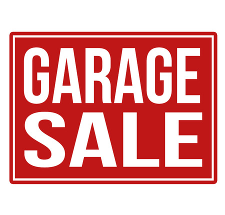 Garage sale red sign isolated on a white background, vector illustration Stock Illustratie