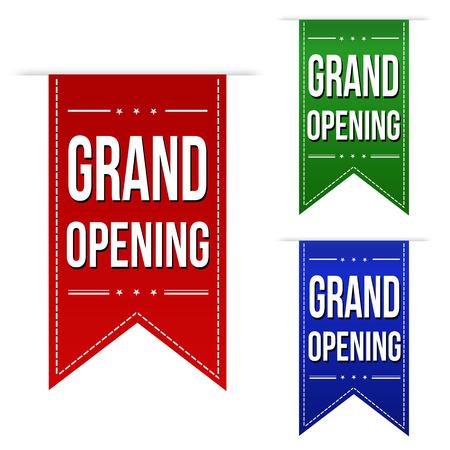 グランド オープンのバナー デザインは白色の背景ベクトル イラスト上に設定