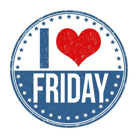 week end: Me encanta Viernes grunge sello de goma en el fondo blanco, ilustraci�n vectorial Vectores