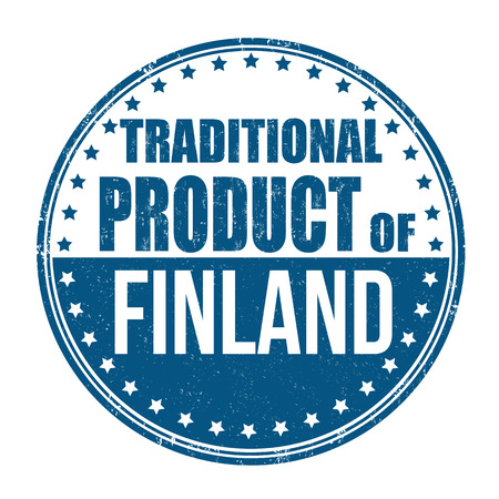 Traditional product of Finland grunge rubber stamp on white background, vector illustration Vector