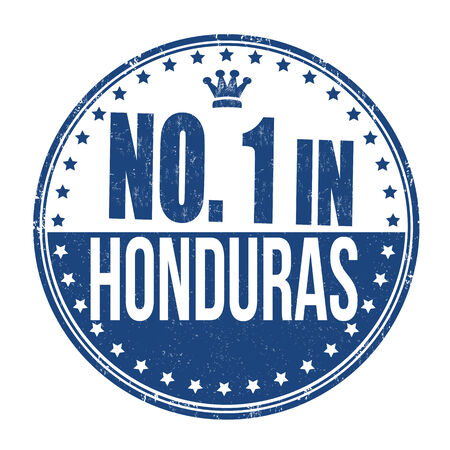 Number one in Honduras grunge rubber stamp on white background Vector