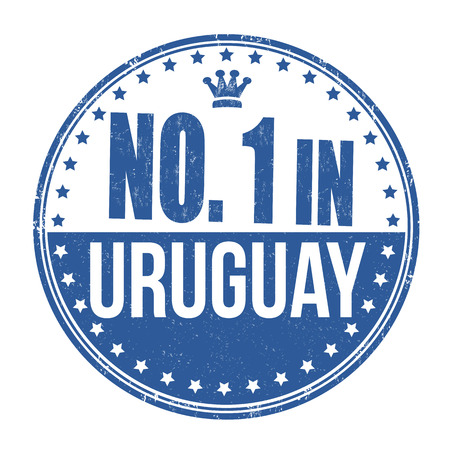 uruguay: Number one in Uruguay grunge rubber stamp on white background, vector illustration
