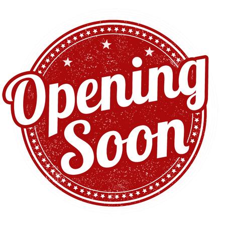 inauguracion: Apertura de sello de goma pronto grunge sobre fondo blanco, ilustración vectorial