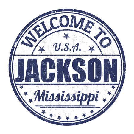 visit us: Welcome to Jackson grunge rubber stamp on white background, vector illustration