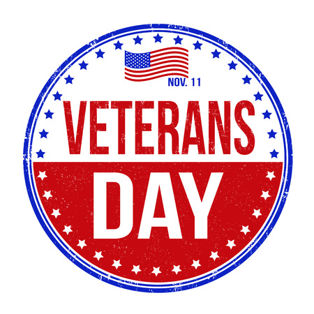 Grunge rubber stamp with the text Veterans Day written inside, vector illustration