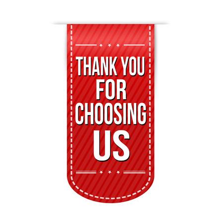 Děkujeme, že jste si vybrali nás banner designu na bílém pozadí Ilustrace