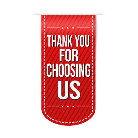 Dank u voor ons te kiezen banner ontwerp op een witte achtergrond