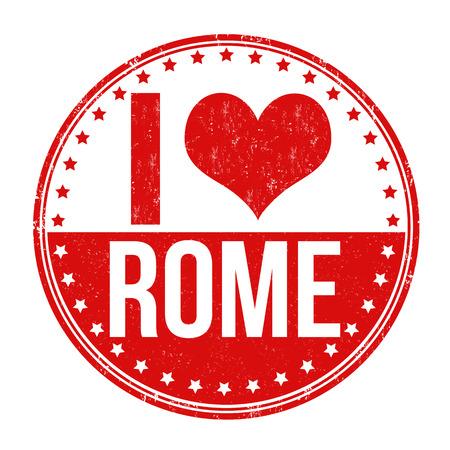 I love Rome grunge rubber stamp on white background, vector illustration Vector