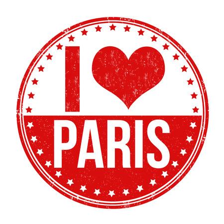 i love paris: I love Paris grunge rubber stamp on white background, vector illustration Illustration
