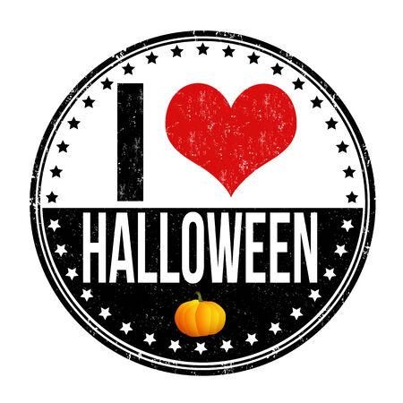 I love Halloween grunge rubber stamp on white background, vector illustration Vector