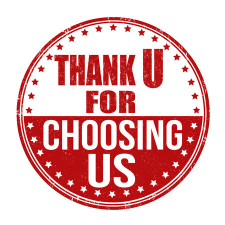 Thank you for choosing us grunge rubber stamp on white background, vector illustration Vector