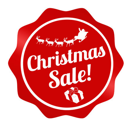 christmas promotion: Christmas sale graphic design label on white background, vector illustration