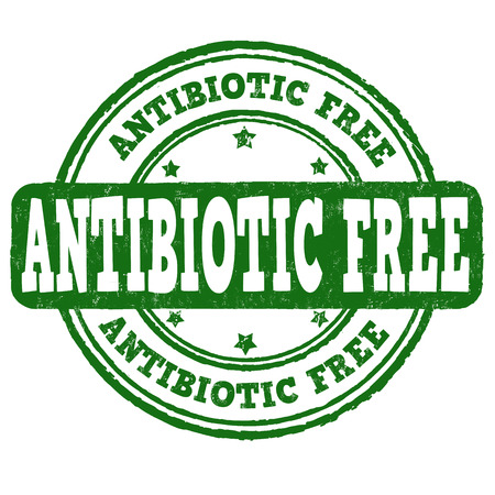 antibiotic white: Antibiotic free grunge rubber stamp on white background, vector illustration Illustration