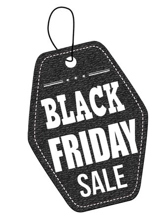 Black friday sale leather label or price tag on white background, vector illustration Vector