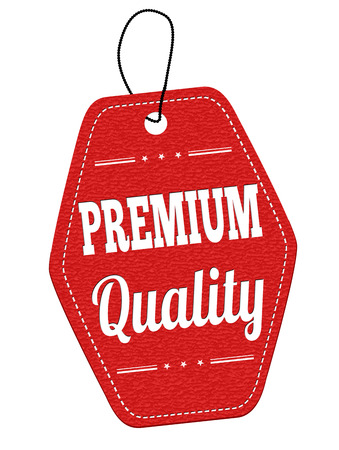 premium quality: Premium quality red leather label or price tag on white background, vector illustration