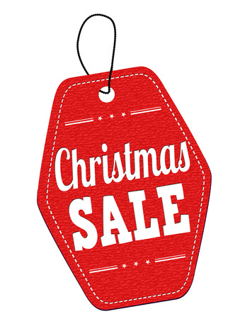 Christmas sale red leather label or price tag on white background, vector illustration Vector