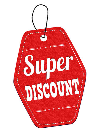 Super discount red leather label or price tag on white background, vector illustration Vector