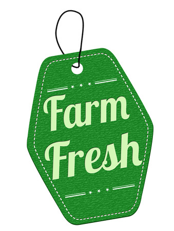 Farm fresh green leather label or price tag on white background, vector illustration Vector