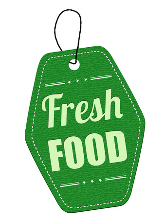 leather label: Fresh food green leather label or price tag on white background, vector illustration Illustration