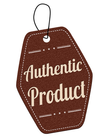 Authentic product brown leather label or price tag on white background, vector illustration Vector