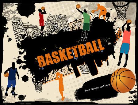Urban basketball grunge background, vector illustration