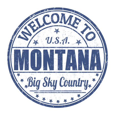 visit us: Welcome to Montana grunge rubber stamp on white background, vector illustration