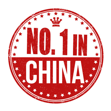 Number one in China grunge rubber stamp on white background, vector illustration