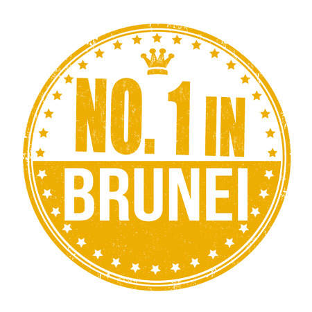 Number one in Brunei grunge rubber stamp on white background, vector illustration Vector