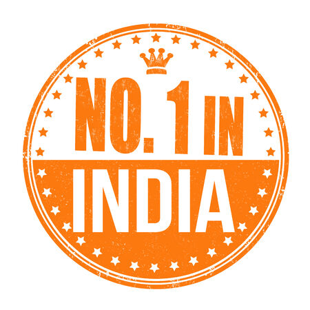 Number one in India grunge rubber stamp on white background, vector illustration Vector