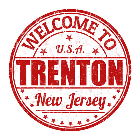 visit us: Welcome to Trenton grunge rubber stamp on white background, vector illustration