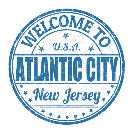 atlantic city: Welcome to Atlantic City grunge rubber stamp on white background, vector illustration
