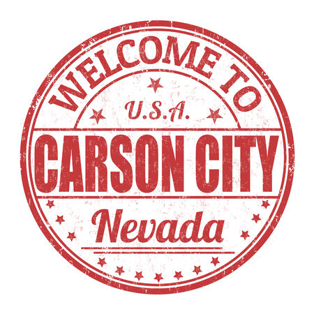 visit us: Welcome to Carson City grunge rubber stamp on white background, vector illustration Illustration