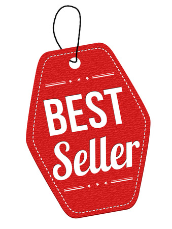 Best seller red leather label or price tag on white background, vector illustration Vectores