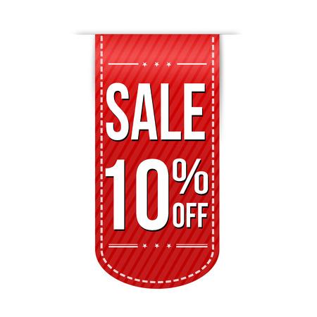 Sale 10% off banner design over a white background, vector illustration