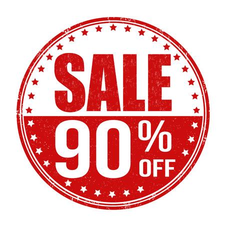 Sale 90% off grunge rubber stamp on white background, vector illustration Vector