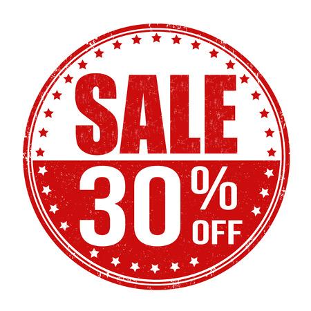 Sale 30% off grunge rubber stamp on white background, vector illustration