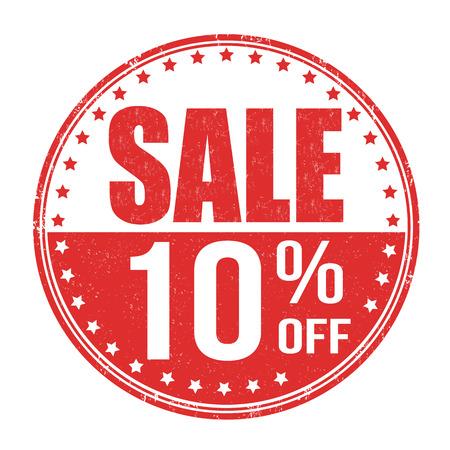 販売 10 % オフ白の背景、ベクトル イラストにグランジ ゴム印