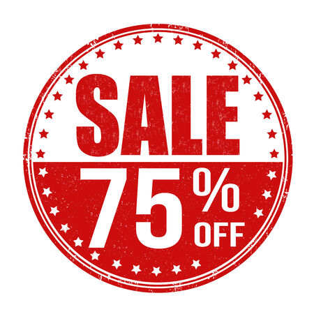 Sale 75% off grunge rubber stamp on white background, vector illustration Vector