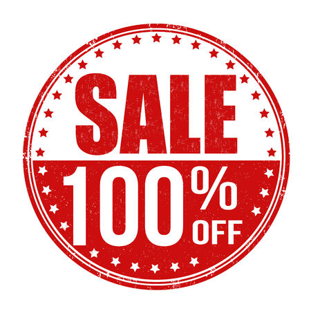 Sale 100% off grunge rubber stamp on white background, vector illustration Vector