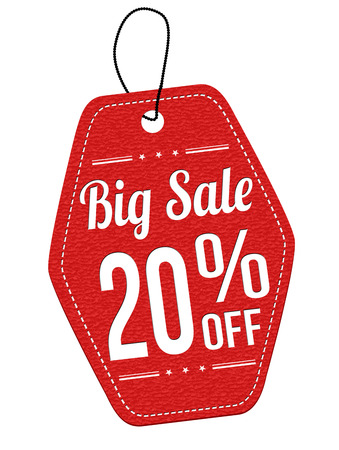 Big sale 20% off red leather label or price tag on white background, vector illustration Vector