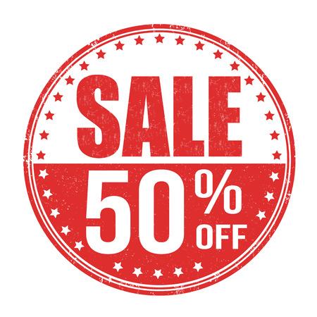 Sale 50% off grunge rubber stamp on white background, vector illustration Vettoriali