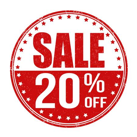 20: Sale 20% off grunge rubber stamp on white background, vector illustration Illustration